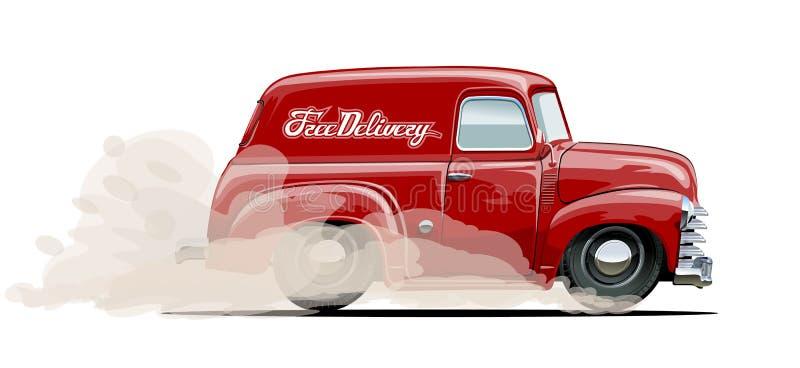 Bestelwagen van de beeldverhaal retro levering royalty-vrije illustratie