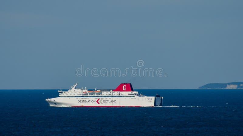 Bestemming Gotland - een veerboot die van Gotland terugkomen royalty-vrije stock fotografie
