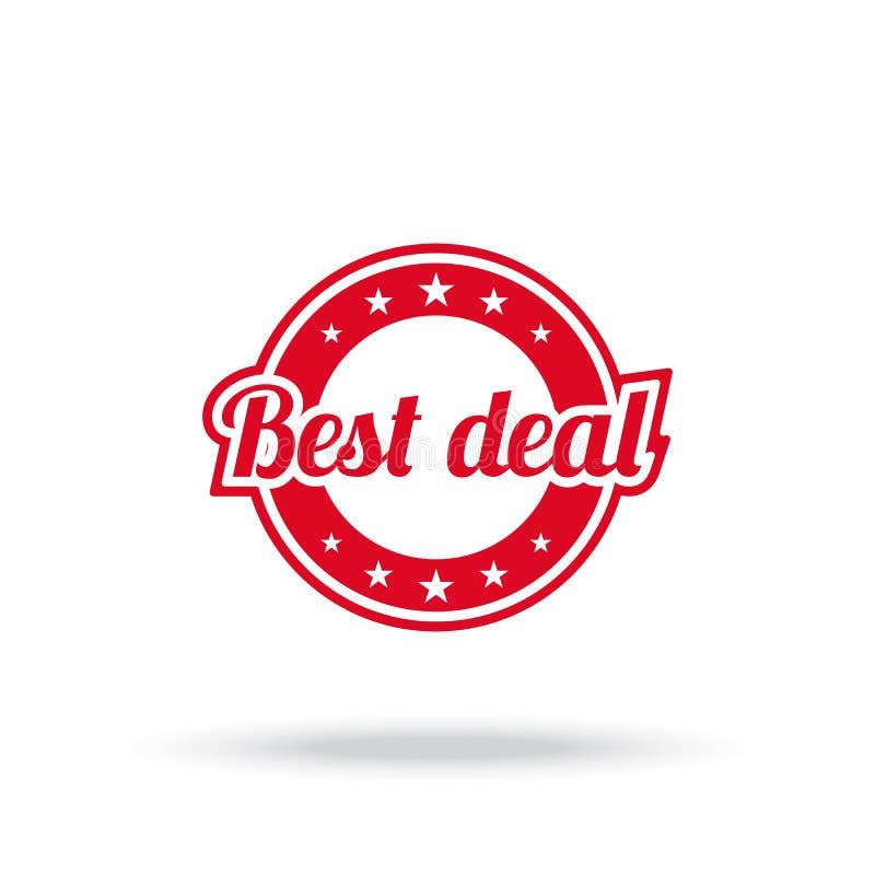Bester Abkommenaufkleber Rote Farbe, lokalisiert auf Weiß vektor abbildung