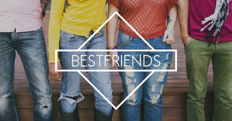 Bester Freund-Freund-Gesellschafts-Zusammengehörigkeits-Konzept stockfotografie