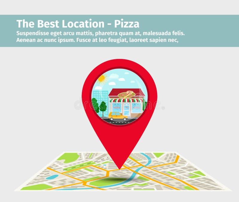 Bester Pizzapunkt auf Karte lizenzfreie abbildung