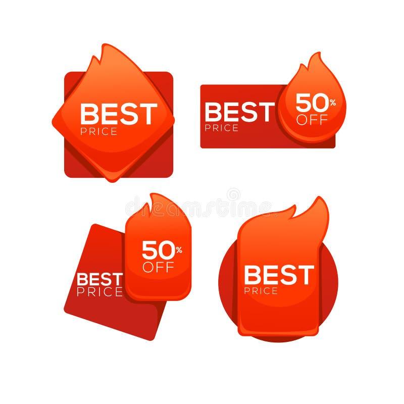 Bester Preis, Schnäppchen, Glanz und glatter Vektor flammen Fahne, Temp vektor abbildung