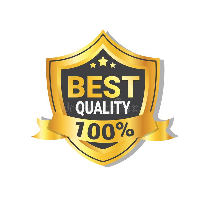Bester Qualitäts-Aufkleber-goldenes Schild mit Band-Ausweis oder Dichtung lokalisiert lizenzfreie abbildung