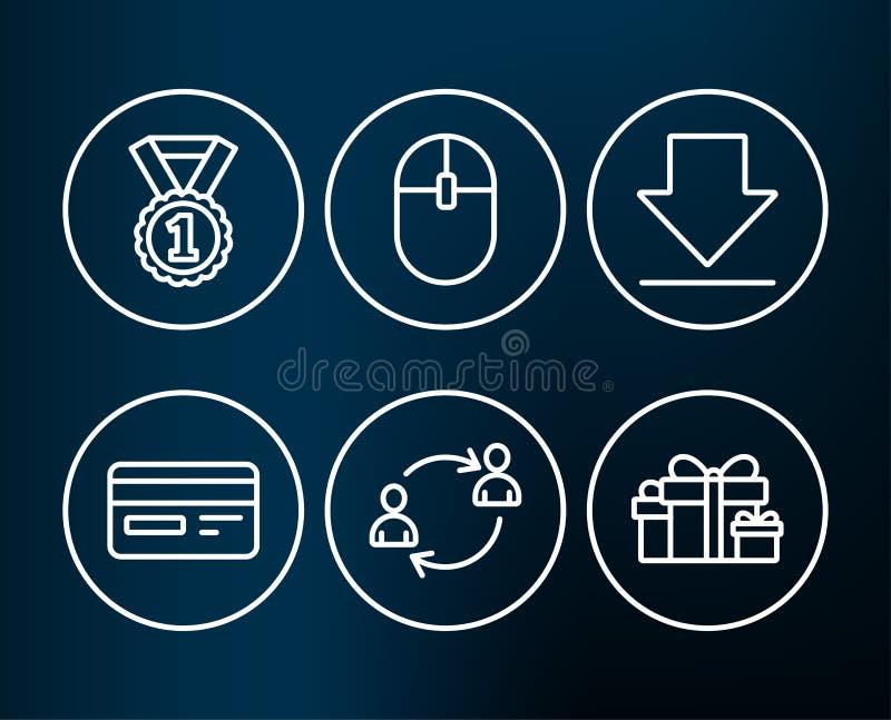 Bester Rang, Downloading- und Computermäuseikonen Kreditkarte-, Benutzerkommunikation und Feiertagsgeschenke unterzeichnet vektor abbildung
