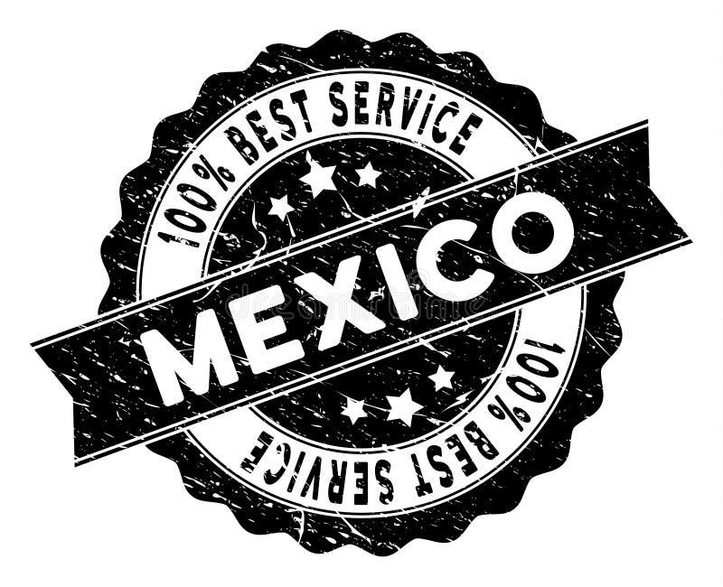 Bester Service-Stempel Mexikos mit Bedrängnis-Oberfläche vektor abbildung