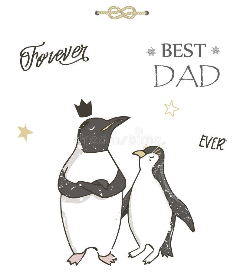 Bester Vati, glücklicher Vatertag, weißer Hintergrund Datei ENV-8 eingeschlossen Pinguin-Clipart Geometrisches giftcard Bester Va