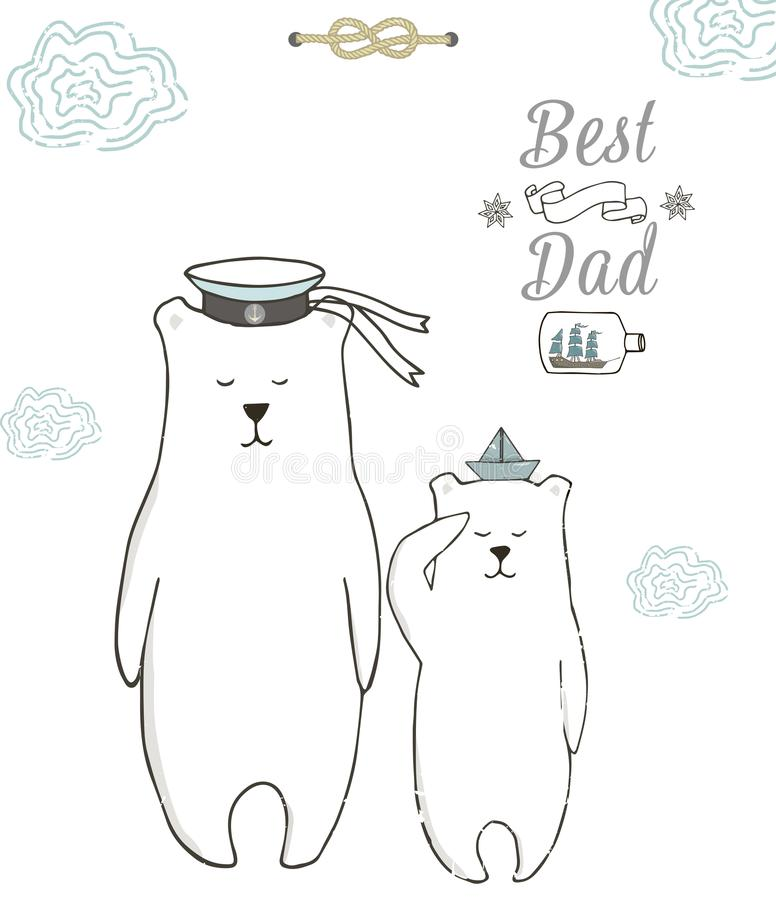 Bester Vati, glücklicher Vatertag, weißer Hintergrund Datei ENV-8 eingeschlossen Polarer digitaler Clipart des Bären Geometrische