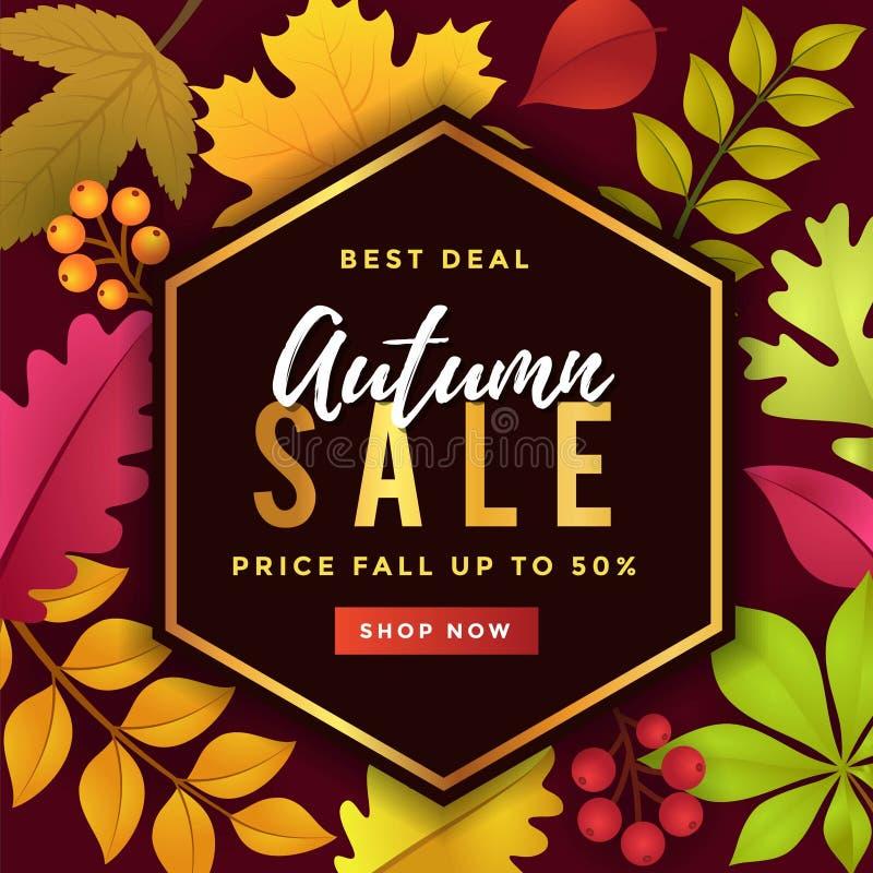 Bestes Abkommen Autumn Sale Poster Template Design stock abbildung