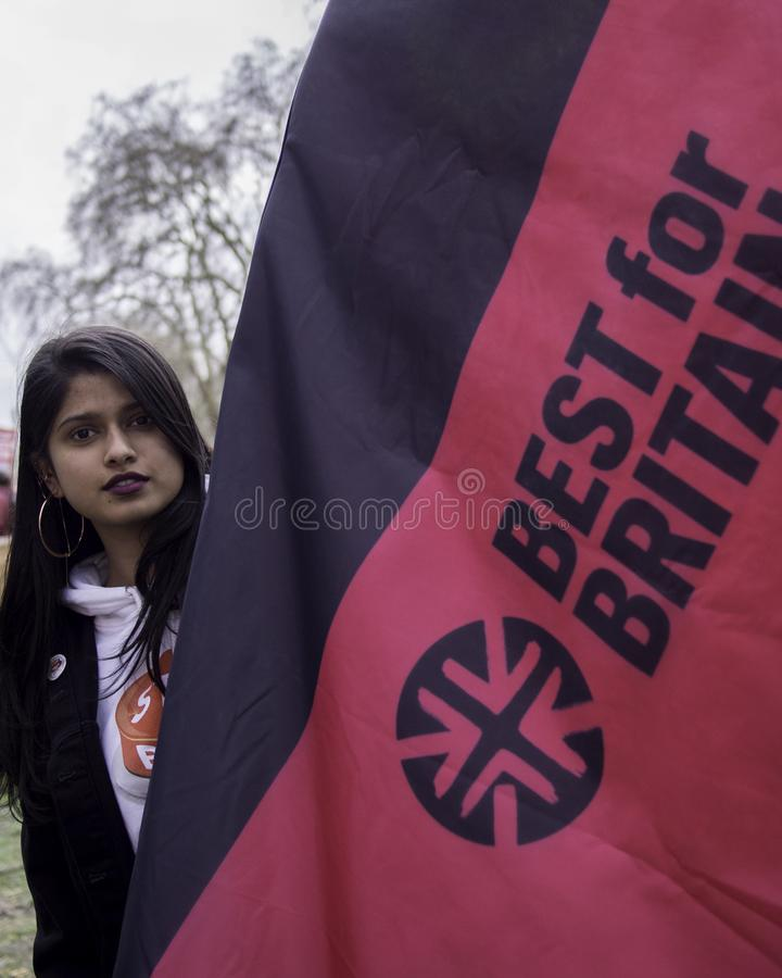 Bestes f?r Gro?britannien-Sozialaktivisten, der gegen Brexit protestiert stockbilder
