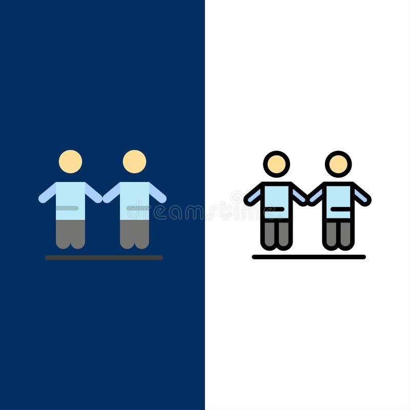Bestes, Freunde, Freundschaft, Gruppen-Ikonen Ebene und Linie gefüllte Ikone stellten Vektor-blauen Hintergrund ein lizenzfreie abbildung