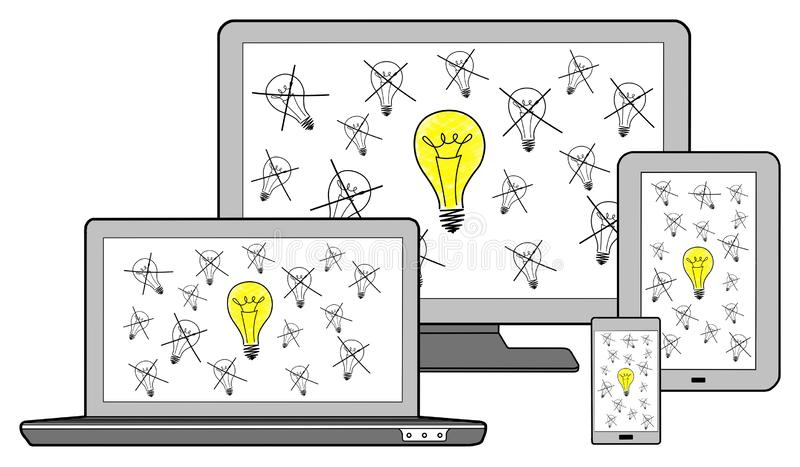 Bestes Ideenkonzept auf verschiedenen Geräten lizenzfreie abbildung