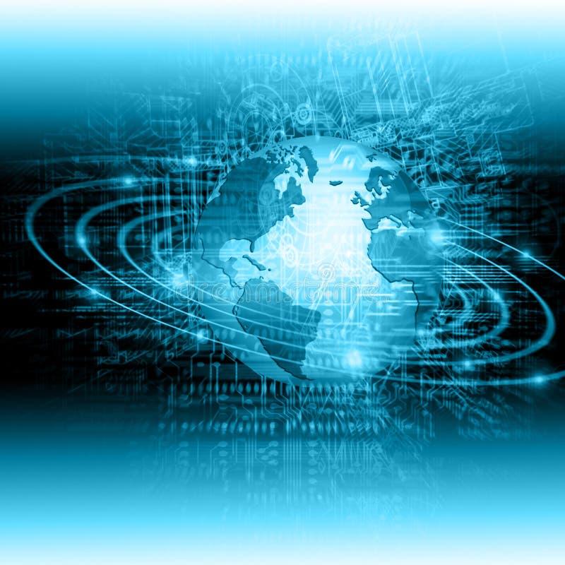 Bestes Internet-Konzept des globalen Geschäfts Kugel, glühende Linien auf technologischem Hintergrund Wi-Fi, Strahlen, Symbole lizenzfreies stockbild