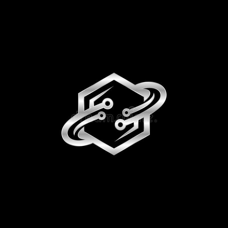 Bestes kreatives Hexagonmetalldesign mit Bahn schellt vektor abbildung