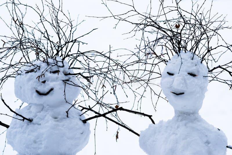 Bestes Weihnachten wünscht von Herr und missis Schneeball stockfotos