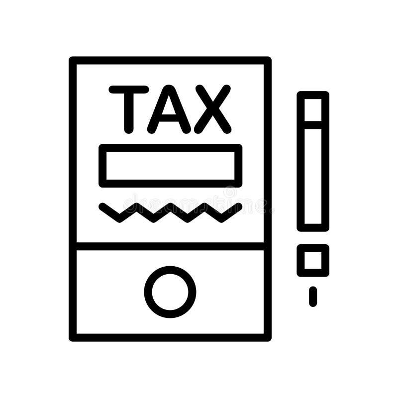 Besteuert den Ikonenvektor, der auf weißem Hintergrund lokalisiert wird, Steuern unterzeichnen, Lin vektor abbildung