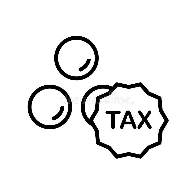 Besteuert den Ikonenvektor, der auf weißem Hintergrund lokalisiert wird, Steuern unterzeichnen, Lin lizenzfreie abbildung