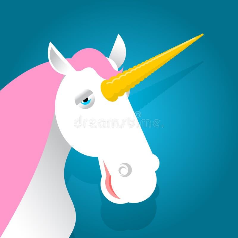 Bestia fabulosa del unicornio con el cuerno Animal mágico con la melena rosada encendido stock de ilustración