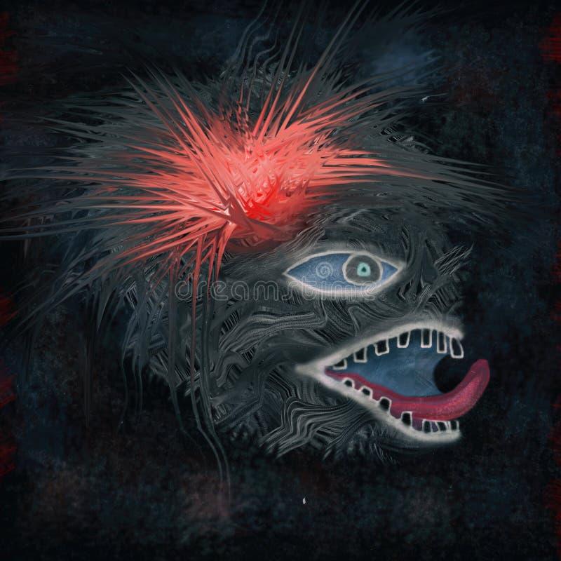 Bestia z czerwonym włosianym czub ilustracja wektor