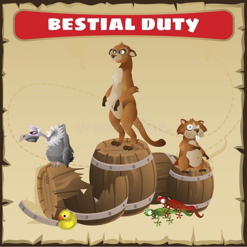 Bestialisk arbetsuppgift En rolig plats med det lösa djuret royaltyfri illustrationer