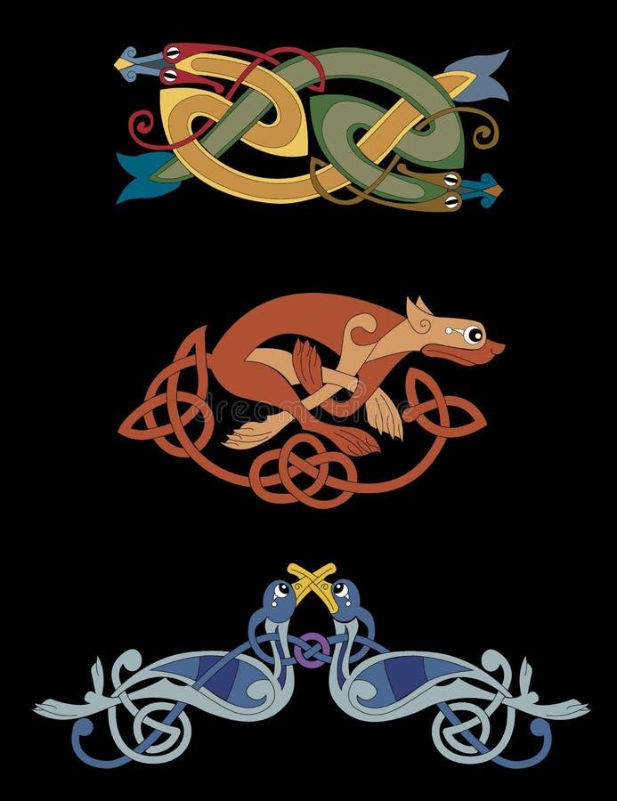 Bestias célticas - serpientes, leona, pájaros ilustración del vector