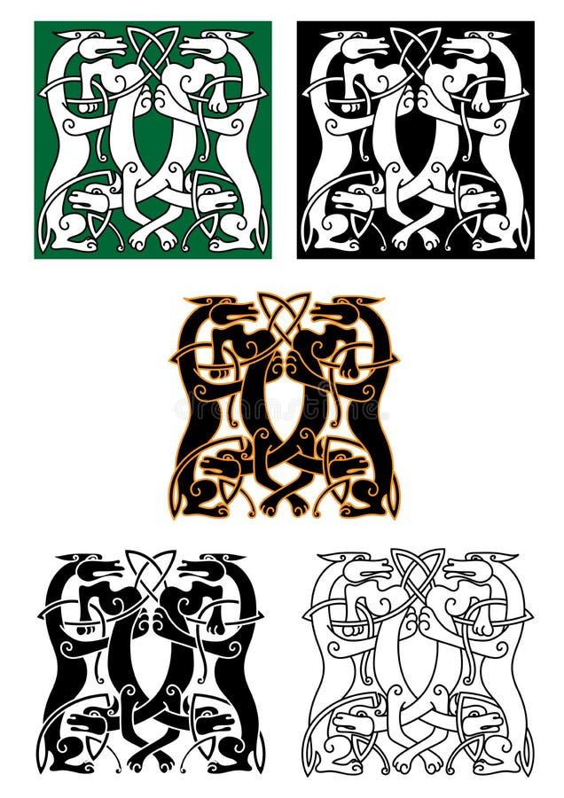 Bestias míticas entrelazadas del lobo y del perro libre illustration