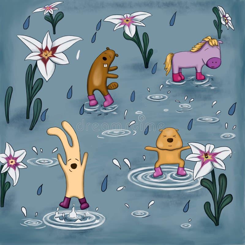 Bestias que bailan bajo la lluvia en las botas de goma stock de ilustración