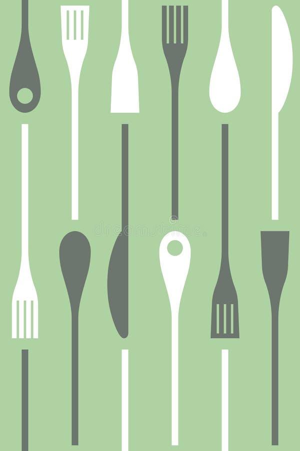 Bestick och sömlös matlagningsymbolsvektor royaltyfri illustrationer