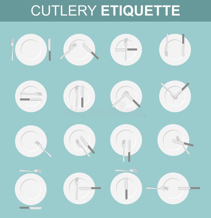 Besticketikett Äta middag etikett Fastställda olika alternativ för läge stock illustrationer