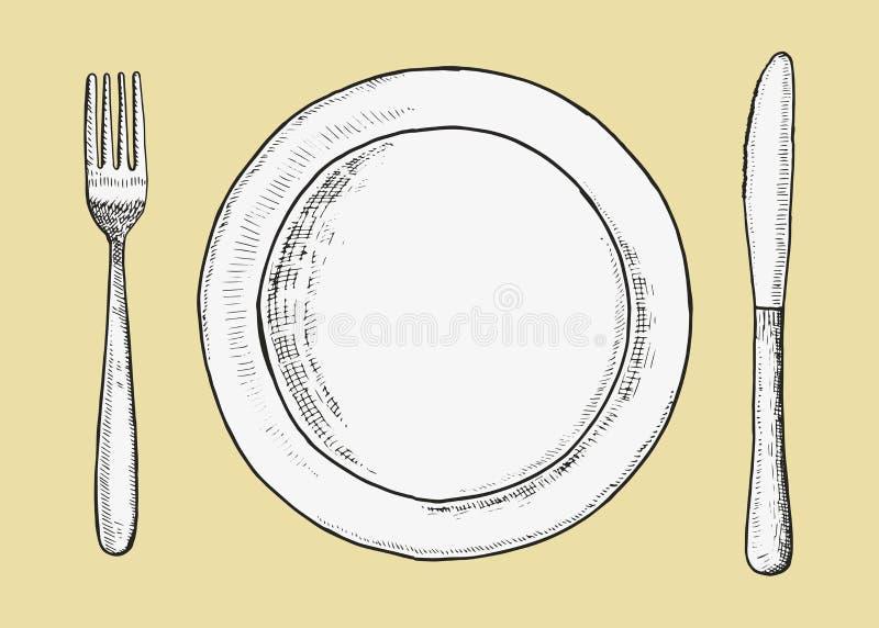 Bestickgaffel med kniv- och plattavektorn Skissa handteckningen illustration stock illustrationer