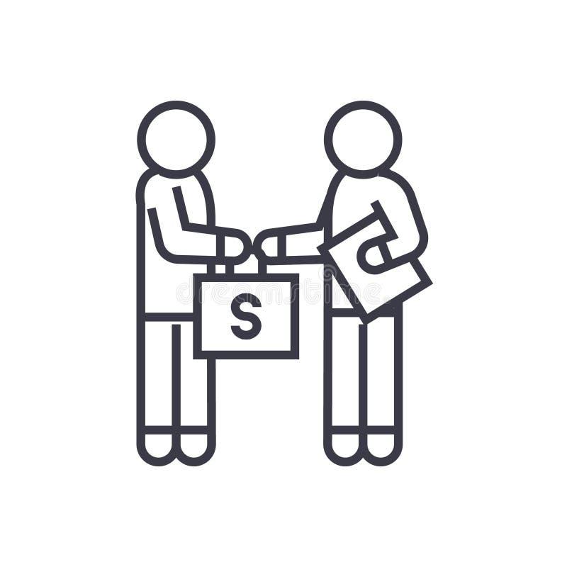 Bestickning och korruption, man som ger pengar den linjära symbolen, tecken, symbol, vektor på isolerad bakgrund vektor illustrationer
