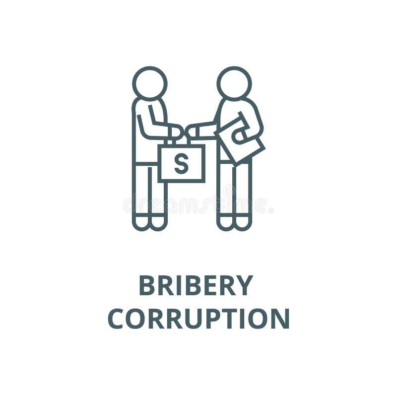Bestickning och korruption, man som ger pengarlinjen symbol, vektor Bestickning och korruption, man som ger pengaröversiktsteckn vektor illustrationer