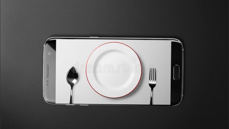 Bestickskärm på den svarta smartphonen på svart bakgrund arkivfoton