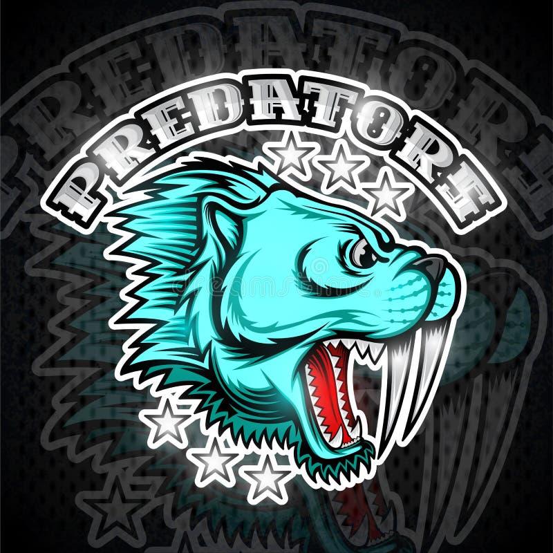 Bestii uzębiona tygrysia twarz od bocznego widoku z ogołacającymi zębami Logo dla jakaś sport drużyny drapieżnika royalty ilustracja