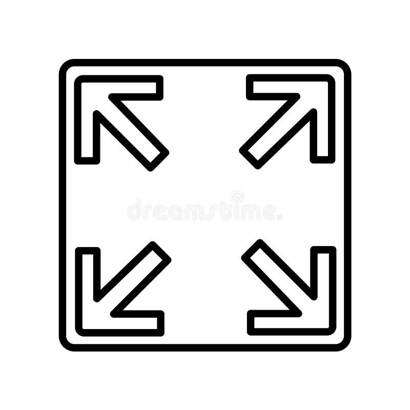 Bestimmen Sie den Ikonenvektor, der auf weißem Hintergrund lokalisiert wird die Größe neu, bestimmen Sie Zeichen, L die Größe neu stock abbildung