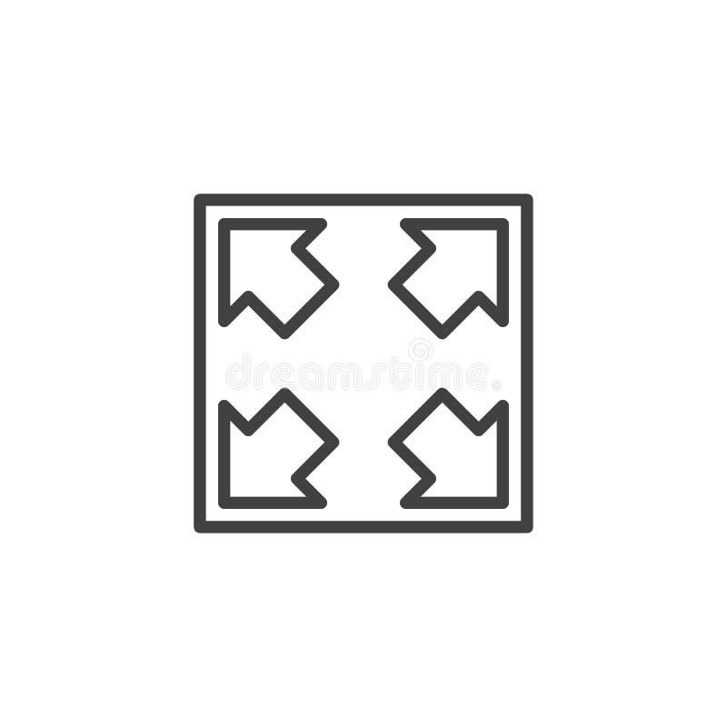 Bestimmen Sie Knopflinie Ikone die Größe neu vektor abbildung