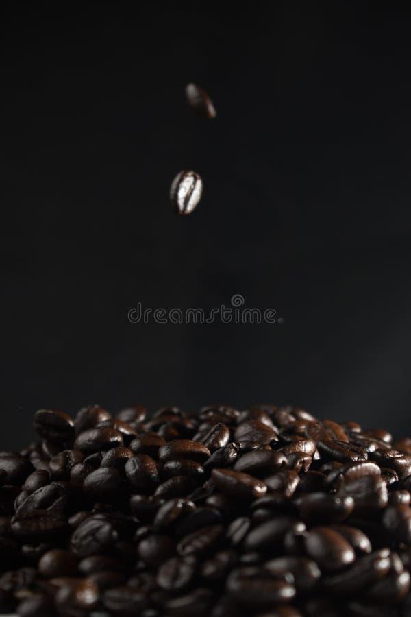 Beströ kaffebönor som ner faller begrepp på mörk bakgrund arkivbild