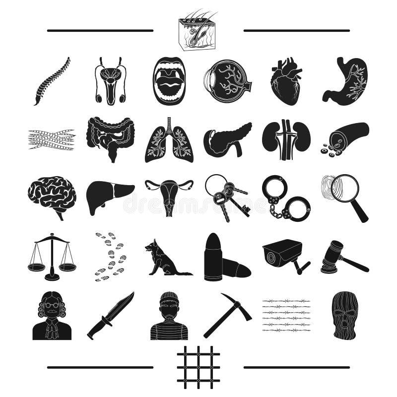Bestraffning, medicin, utbildning och annan rengöringsduksymbol i svart stil röveri rättvisa, fängelse, symboler i uppsättningsam stock illustrationer