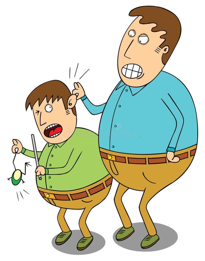 Bestrafung für frechen Jungen stock abbildung