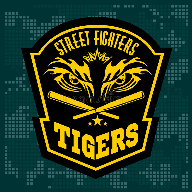 Bestrijdend clubembleem - tijgeroog Etiketten, kentekens vector illustratie