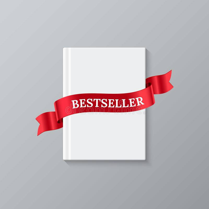 bestseller book template vector white blank book cover and red