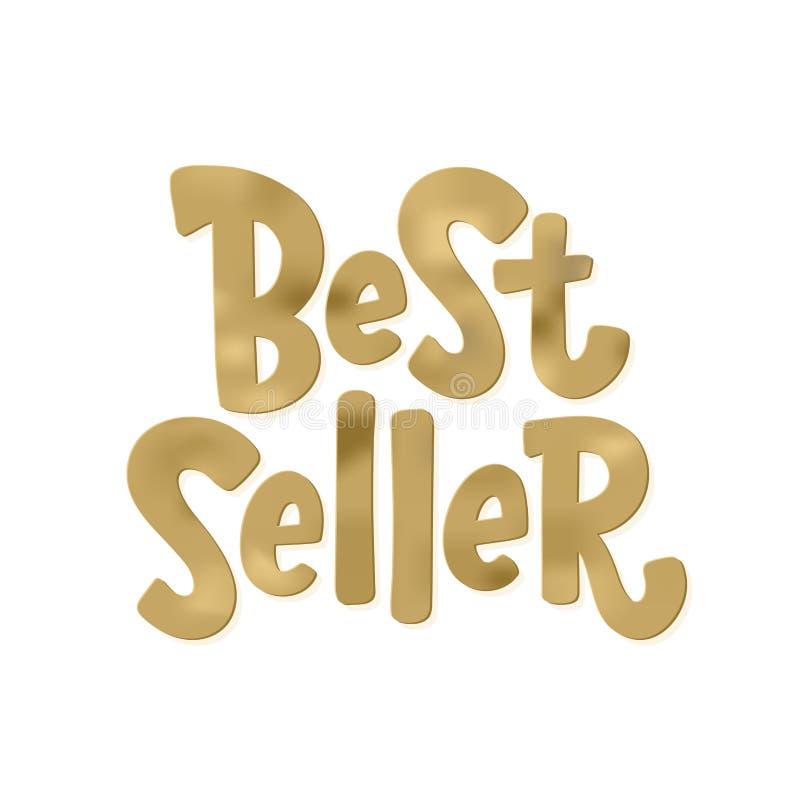 Bestseller gouden tekstlabel Best-seller gouden woord Hand getrokken van letters voorziend ontwerpelement stock illustratie