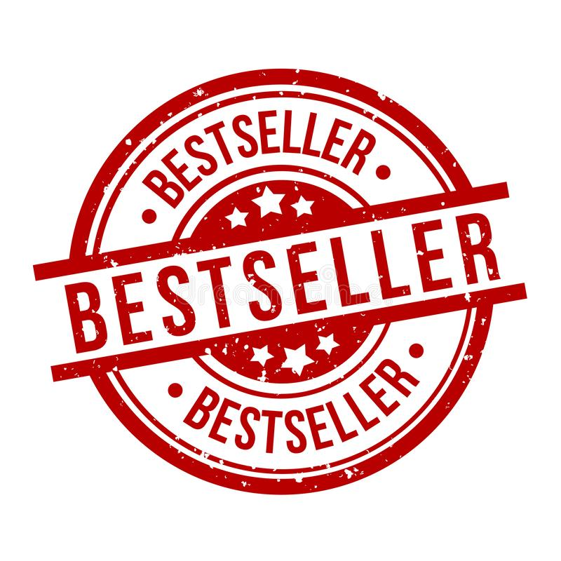 Bestseller round red grunge stamp badge royalty free illustration