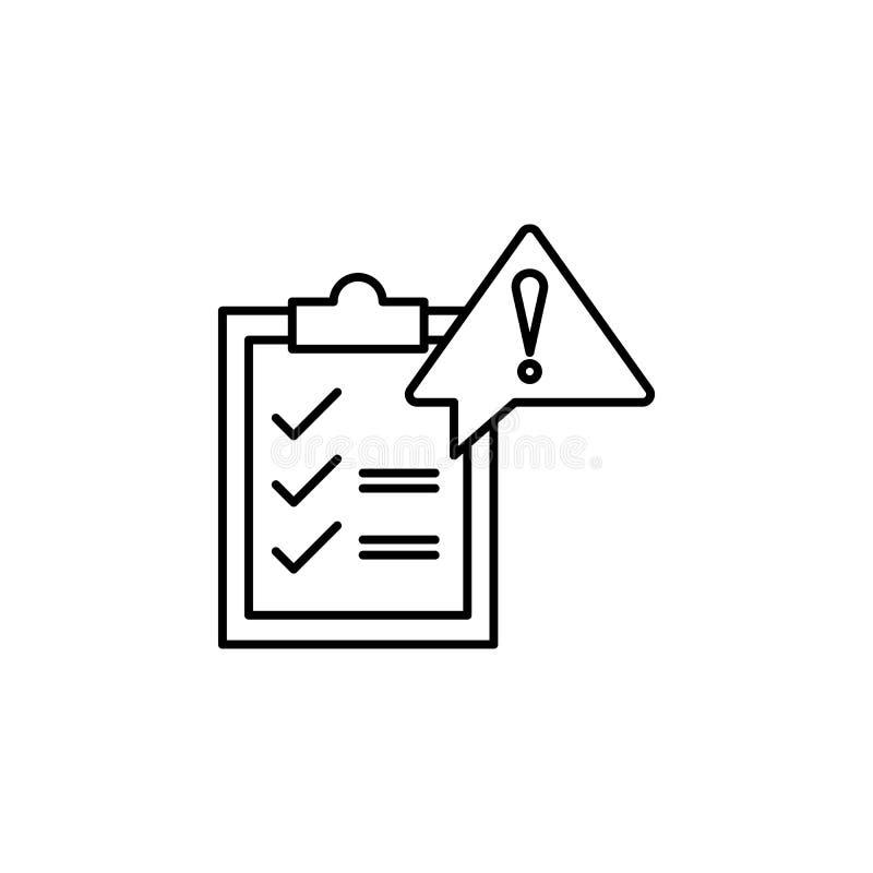 Bestuur, risicopictogram Element van het algemene pictogram van het gegevensproject voor mobiel concept en Web apps Het dunne lij stock illustratie
