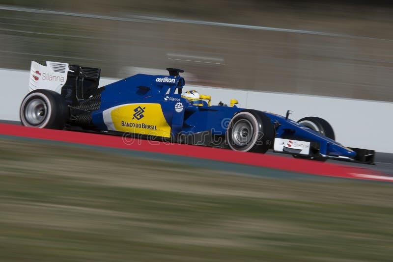 Bestuurder Marcus Ericsson Team Sauber F1 royalty-vrije stock foto