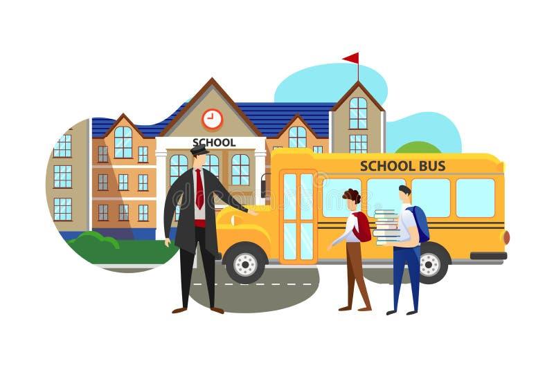 Bestuurder Meeting Schoolkids van de Middelbare school vector illustratie