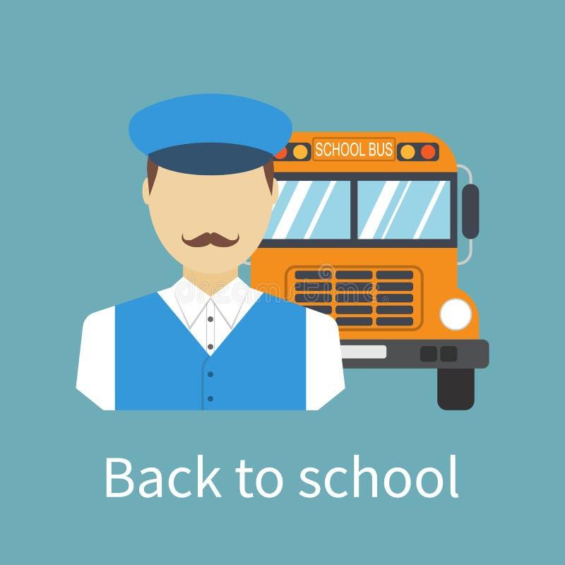 Bestuurder van schoolbus stock illustratie