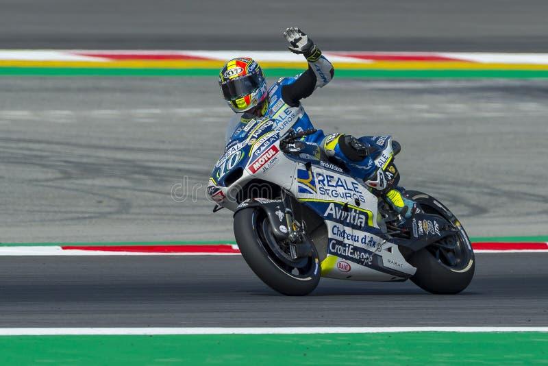 Bestuurder Xavier Simeon De Grand Prix van de monsterenergie van Catalonië MotoGP stock afbeelding