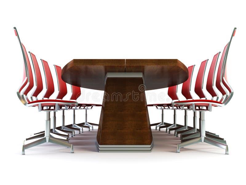 Bestuurskamer met lijst en stoelen royalty-vrije illustratie