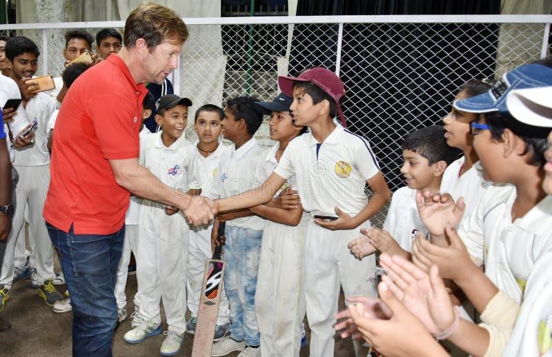 Besuch Jonty Rhodos in Bhopal, Indien stockbild