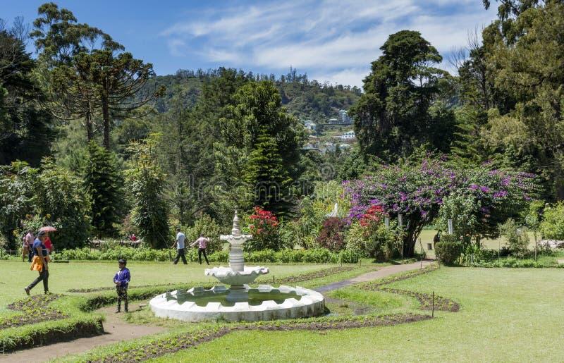 Besucher im schönen Park gelegen an Stadt Nuwara Eliya stockfotografie